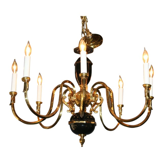 Black & Gold Porcelain and Brass Chandelier - Image 1 of 8