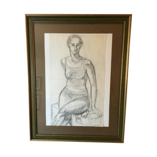 Framed Vintage Drawing of a Woman