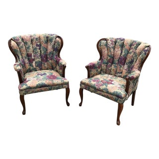 Tapestry Barrel Back Chairs - A Pair