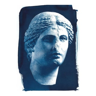 Roman Woman Sculpture Cyanotype Print