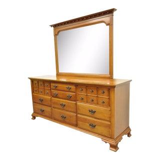 Vintage Monitor American Emblem Colonial Cherry Wood Long Dresser Chest & Mirror