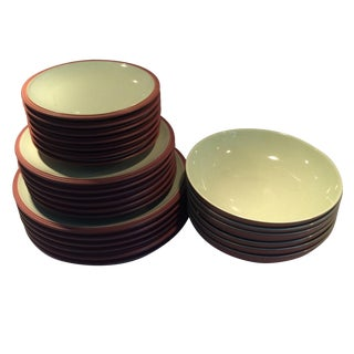 Green and Brown Dinnerware - Set of 6