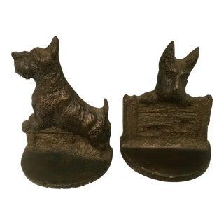 Vintage Cast Iron Scottie Dog Bookends - A Pair