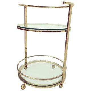 Round Brass And Chrome Bar Cart
