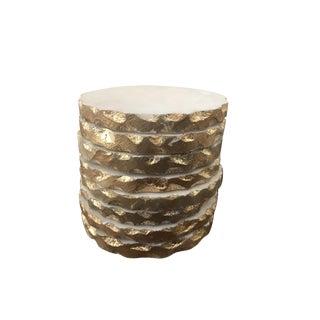 Boho Gold Trimmed White Stone Coasters - Set of 8