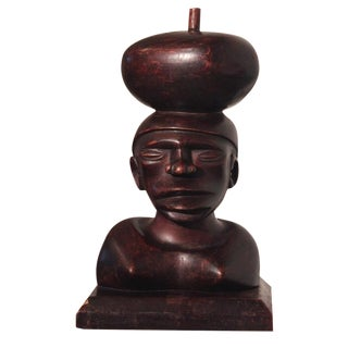 Tribal Ironwood Hand-Carved Woman's Bust