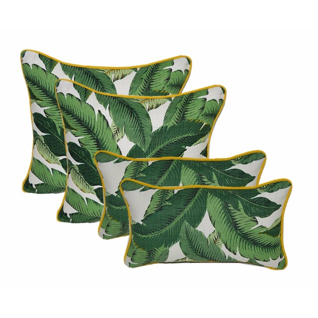 Image of Green Swaying Palms Pillows W/Yellow Cording - S/4
