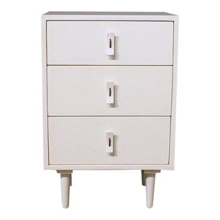 Three-Drawer Solid White Teak Dresser