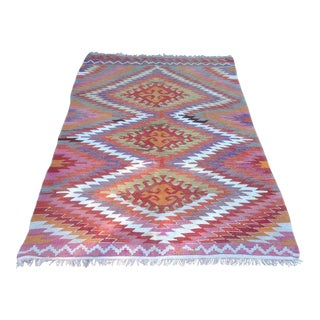 Vintage Turkish Kilim Rug - 4′10″ × 7′10″