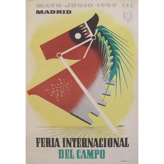 1953 Vintage Art Deco Horse Poster, Madrid
