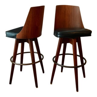 Mid-Century Walnut Bentwood, Leather Swivel Barstools - A Pair