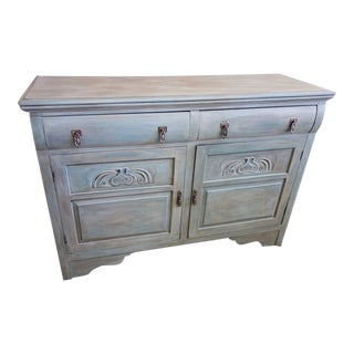 Hand Painted Creamy Blue Green Antique Sideboard