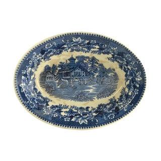 Vintage Indigo Blue Toile Serving Bowl