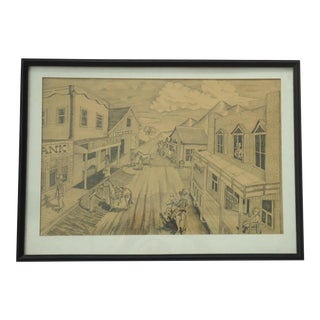 "Vintage Bob Everett ""Centennial Before the Storm"" Drawing"