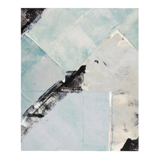 Blue & Off White Abstract Monoprint
