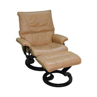 Leather Reclining Stressless Lounge Chair w/ Ottoman
