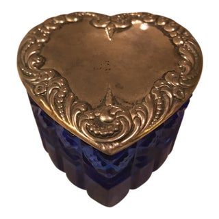 Cobalt Blue Glass Heart Trinket Box with Sterling Silver Lid