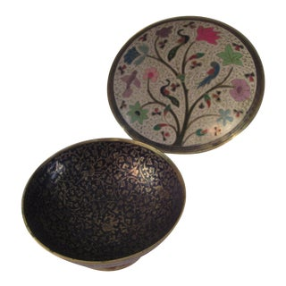Vintage Indian Brass & Enamel Bowls - A Pair