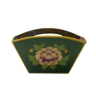 Traditional Chinese Green Flowers Wood Square Handle Bucket