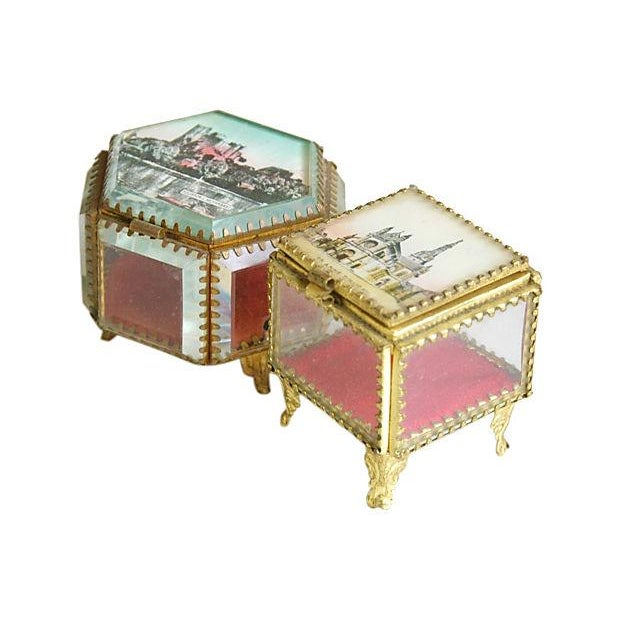 Antique French Souvenir Boxes - A Pair - Image 5 of 8