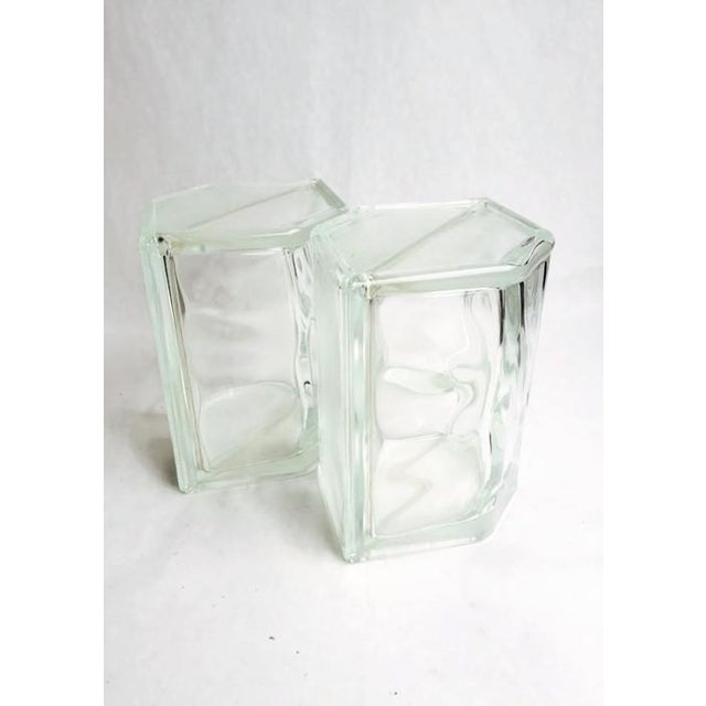 Image of Vintage Glass Block Geometric Bookends - A Pair