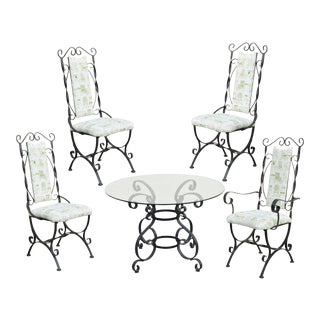 Vintage Hollywood Regency Scrolling Wrought Iron Dining Set