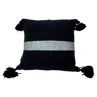 Moroccan Silver on Black Pom Pom Pillow