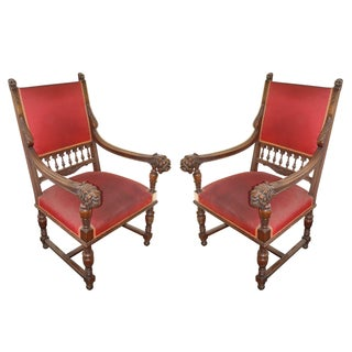Antique Louis XIII Lions Head Carved Chairs - Pair