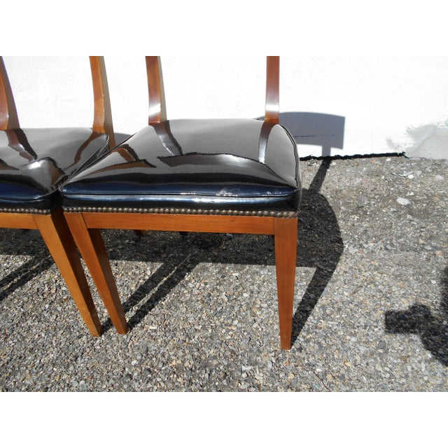 Image of Mid-Century Patent Leather Dining Chairs - Set of 6