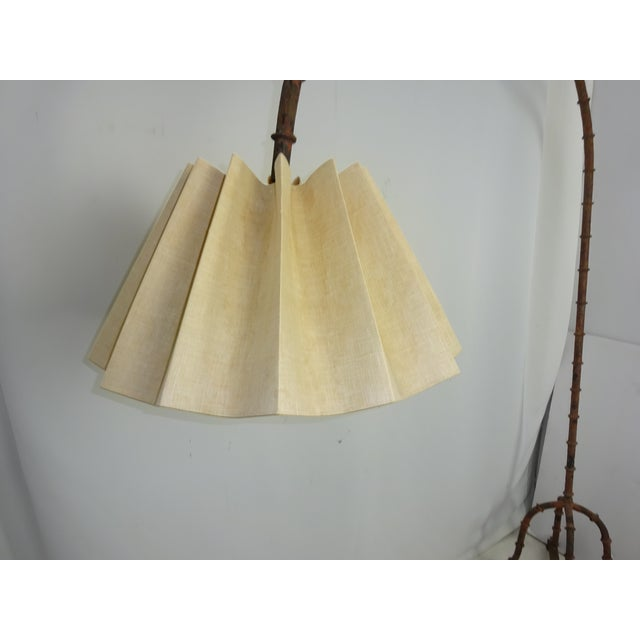Image of 1970s Wrought Iron Faux Bamboo Arc Lamp