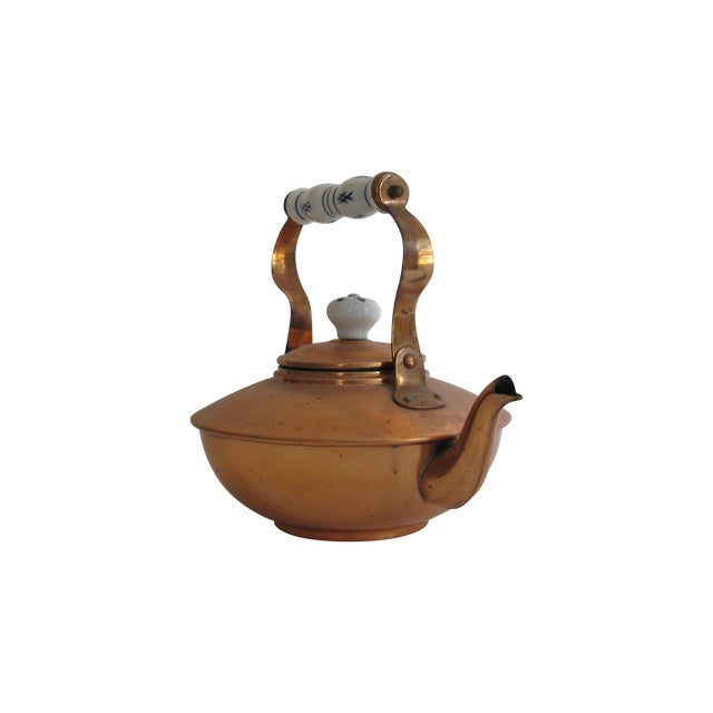 French Copper & Ceramic Teapot - Image 1 of 7
