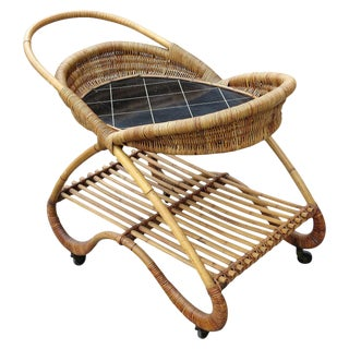 Restored Free-Form Rattan Bar Cart with Tile Top