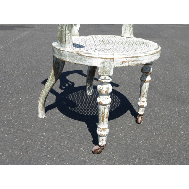 French White Cane Accent Arm Chair on Castors - Image 11 of 11