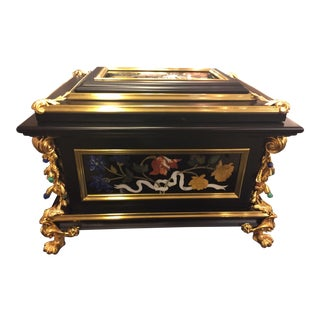 Semi Precious Stone Inlaid Music Jewelry Box