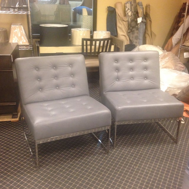 Leather & Chrome Accent Chairs - A Pair - Image 2 of 7