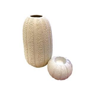 White Sea Urchin Style Vase & Candleholder