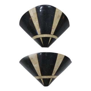 Art Deco Tessellated Marble Sconces - a Pair