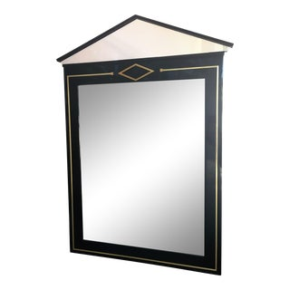 Lucite, Brass and Black Modern Art Deco Glass Mirror in Style Hollywood Regency