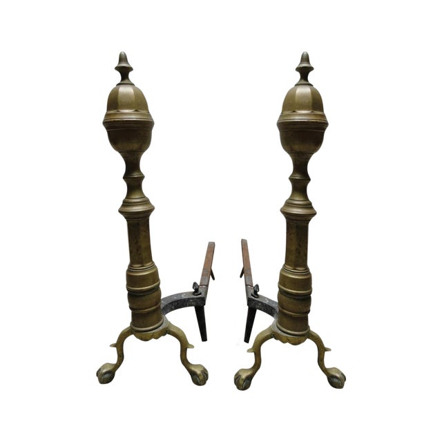 Antique Brass & Iron Andirons - A Pair - Image 1 of 8