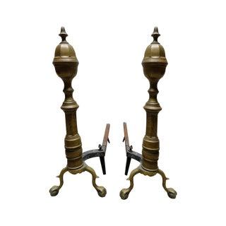 Antique Brass & Iron Andirons - A Pair