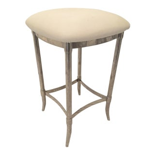 Nickel and White Rubber Seat Waterworks Stool