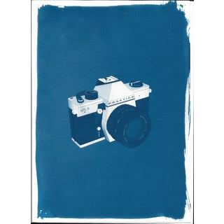 Cyanotype Print - 3d Render of 35mm Camera