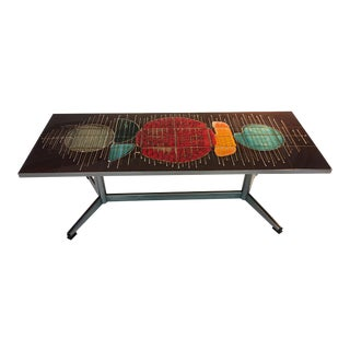 BEAUTIFUL COLORFUL ABSTRACT DESIGN ITALIAN TILE COFFEE TABLE