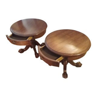 Classic Oak End Tables - Pair
