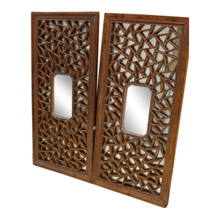 Chinese Antique Screens With Mirrors - A Pair