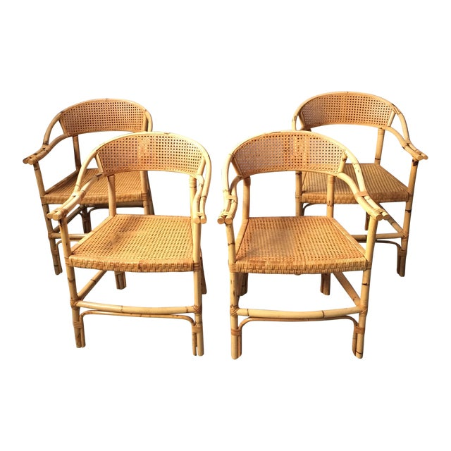 Bamboo and Cane Dining Chairs - Set of 4 - Image 1 of 11