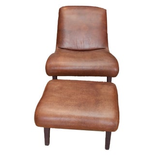Lee Industries Leather Chair and Ottoman