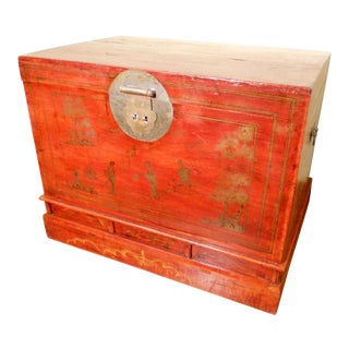Antique Hand Painted Red Lacquered Chinese Trunk