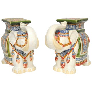 Chinese Ceramic Elephant Garden Stools - A Pair