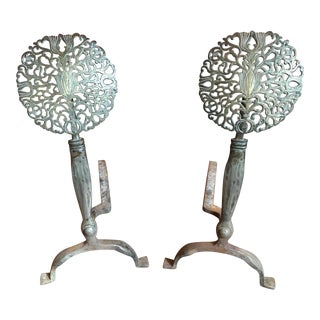 Pair of American Nickel Silver and Bronze Medallion Andirons. 19th Century